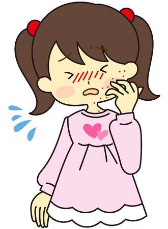 Illustration suffering from pollen symptoms