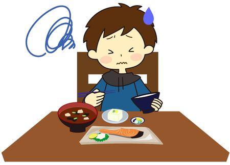 Kids eating something they hate Illusztráció