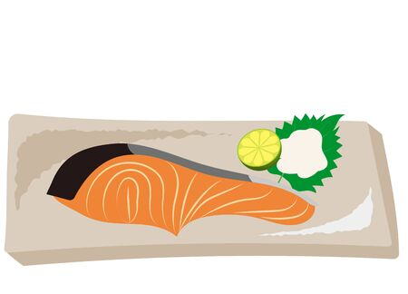 Grilled salmon with Japanese side dishes