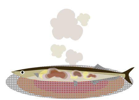 Illustration of saury baking with net