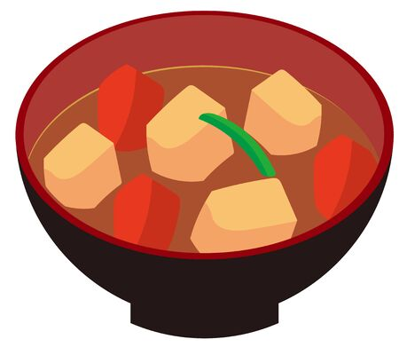 Illustration of Miso soup with pork and vegetables