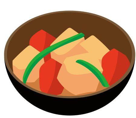 Japanese food with stewed meat and potatoes Ilustracja