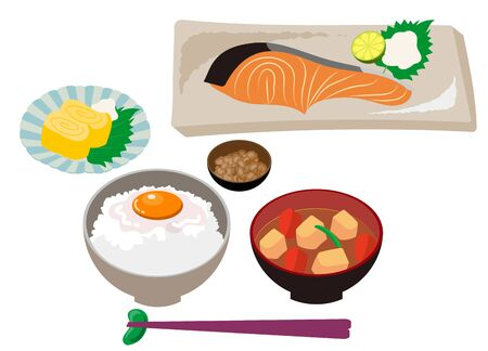 Japanese luxurious breakfast set meal 向量圖像