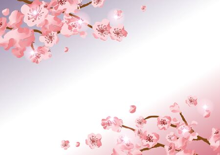 Watercolor cherry blossoms background material Çizim