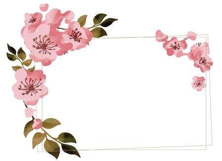 Watercolor cherry blossoms frame material