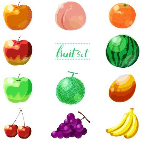 Conjunto de ilustraciones de frutas simples Ilustración de vector