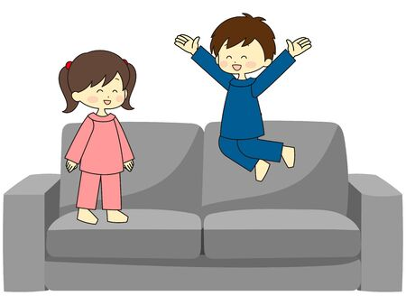 Children jumping and playing on the sofa