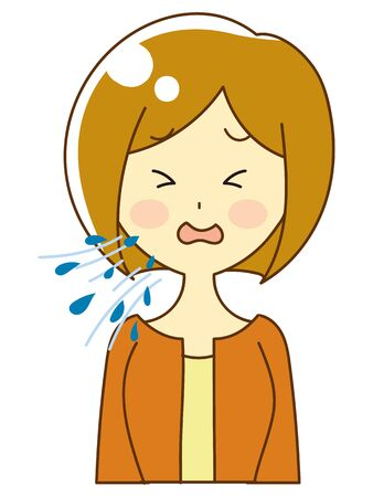 Illustration of a person coughing, sneezing, splashing 向量圖像