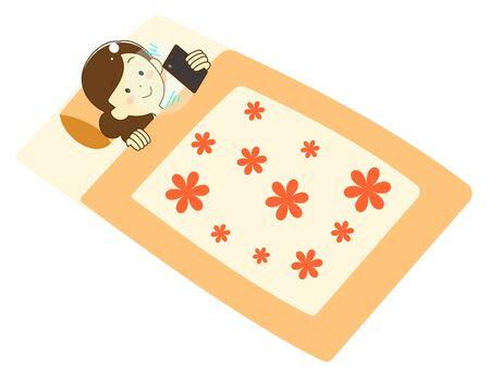 Illustration of a woman sleeping on a futon