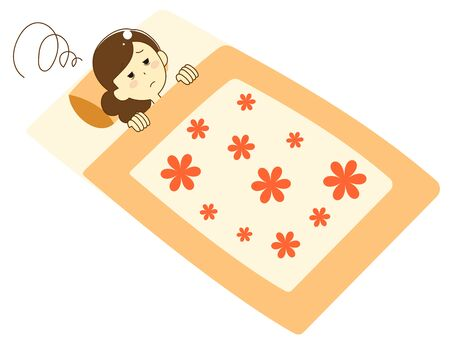 Illustration of a woman sleeping on a futon Vectores