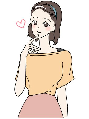 Illustration of a young woman upper body
