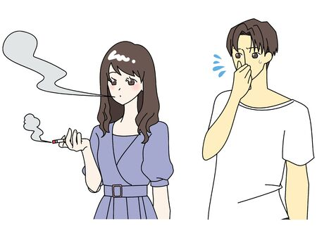 Illustration of a woman smoking and a hated man Illustration