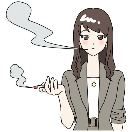 Illustration of smoker and cigarette smoke