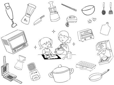 Set of kitchen utensil illustrations