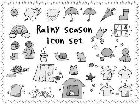 Rainy season rough icon set, monochrome
