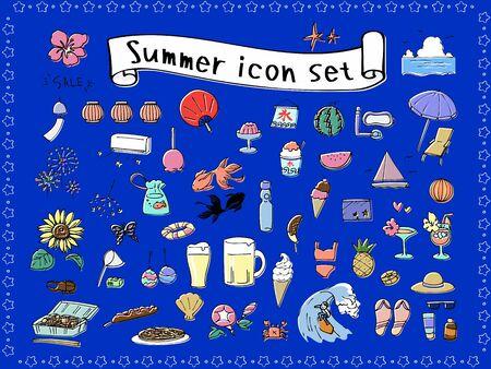 Summer hand drawn icon set