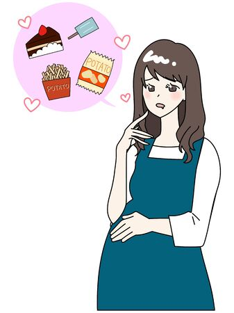 Illustration of a pregnant woman who wants to eat junk food