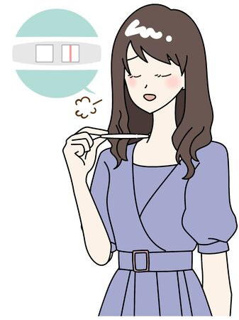 Illustration of a woman who is relieved that she is not pregnant 일러스트