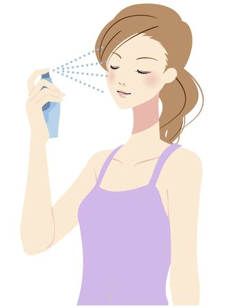 Illustration of a woman taking care of her skin Ilustración de vector