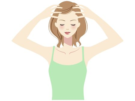 Illustration of a woman taking self care of her hair Ilustracje wektorowe