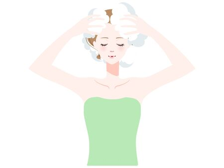Illustration of a woman washing her hair