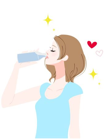 Illustration of a woman drinking water