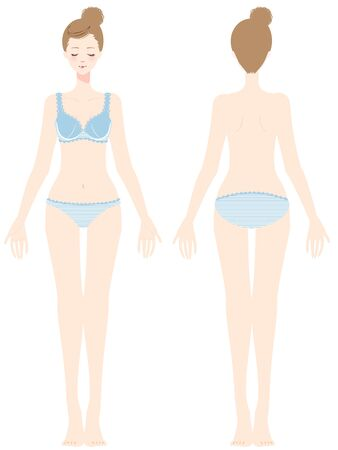 Full body view of a woman seen from front and back Ilustração