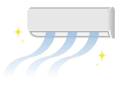 Illustration of an air conditioner that produces clean cold air  イラスト・ベクター素材
