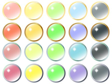 Button icon in colorful gem style illustration