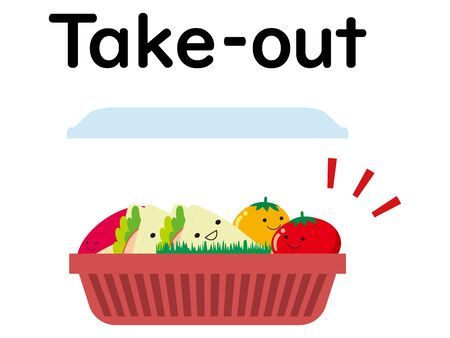 Character illustration of takeout bento