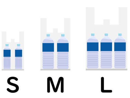 Illustration showing various sizes of shopping bags