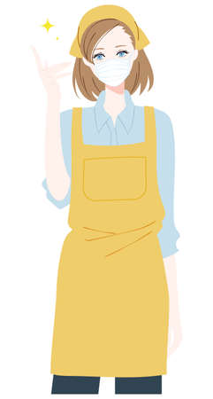 Illustration of a woman wearing a mask and wearing an apron