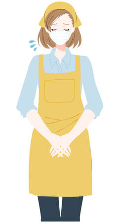 Illustration of a woman bowing with a mask and apron