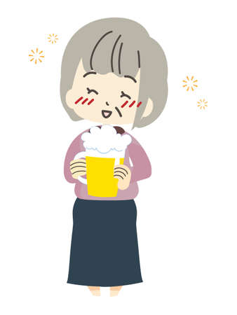 Illustration of a woman drinking beer