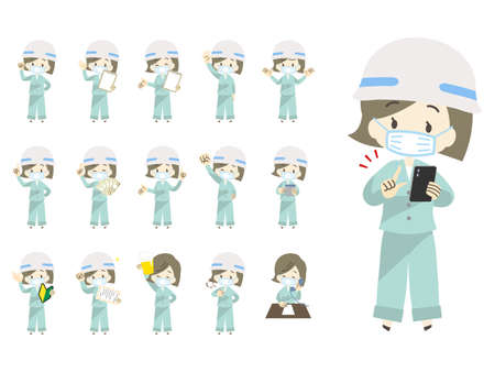 Pose illustration set of women wearing work clothes