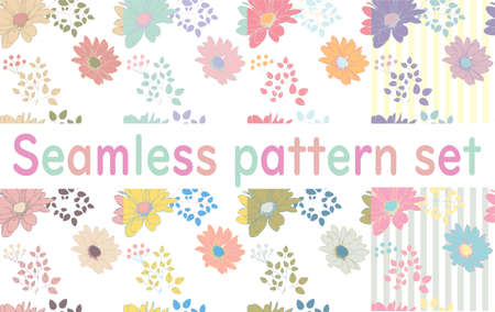 Cute floral seamless pattern set  イラスト・ベクター素材