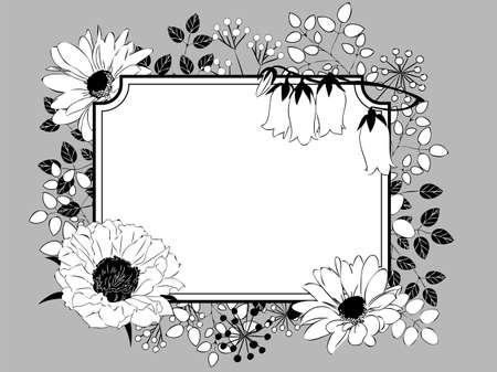 Monotone illustration of a plant pattern  イラスト・ベクター素材
