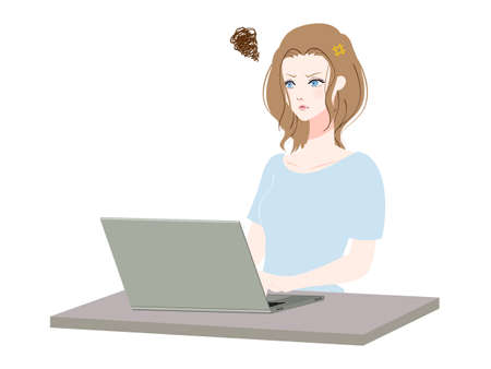 Illustration of a woman using a personal computer