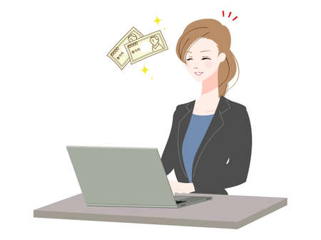 Illustration of a business woman using a personal computer