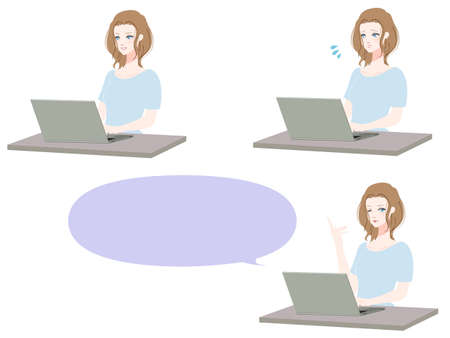 Illustration set of women using a personal computer