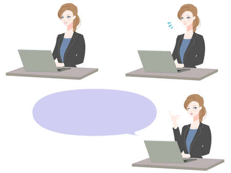 Illustration set of business woman using a personal computer