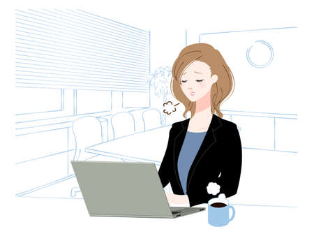 Illustration of a woman working in the office Vettoriali