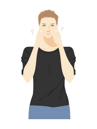 Illustration of the upper body of a young man doing skin care