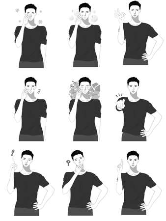 Men's upper body illustration set for skin care  イラスト・ベクター素材