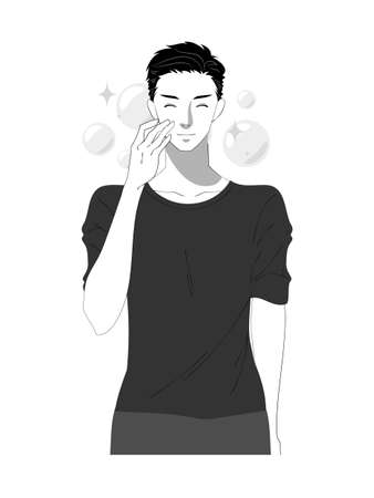 Illustration of a young man doing skin care