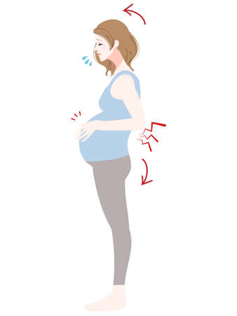 Illustration of a pregnant woman suffering from back pain Vektorgrafik