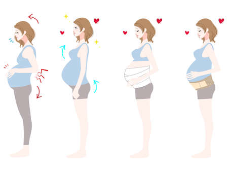 Profile illustration set of pregnant women
