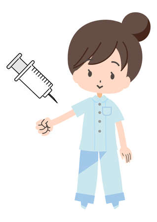 Illustration of a medical person receiving an injection