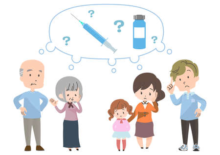 Illustration of people in doubt about vaccination