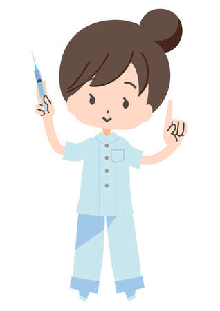 Illustration of a nurse with a syringe 向量圖像